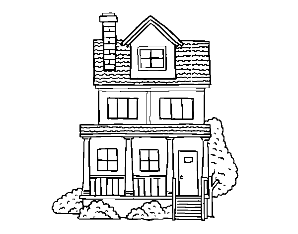 Two-story house with attic coloring page