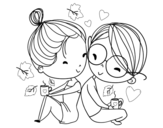 Two young lovers coloring page