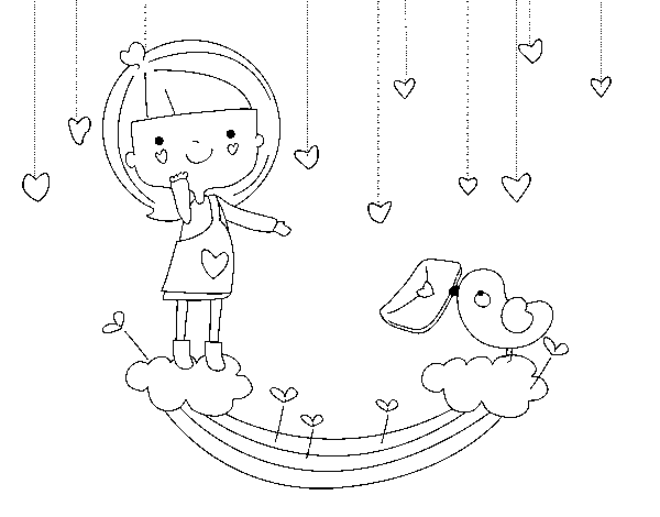 Valentine letter coloring page