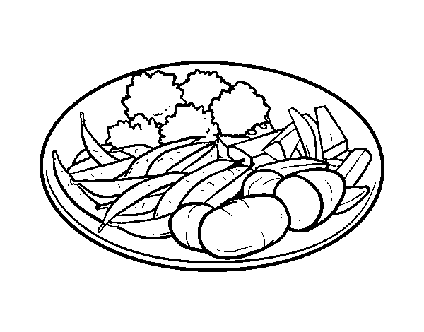 Vegetable Dish Coloring Page Coloringcrew Com