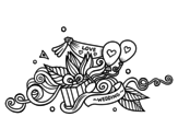 Wedding decoration coloring page
