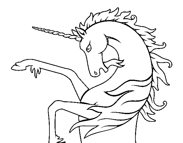 Wild unicorn coloring page