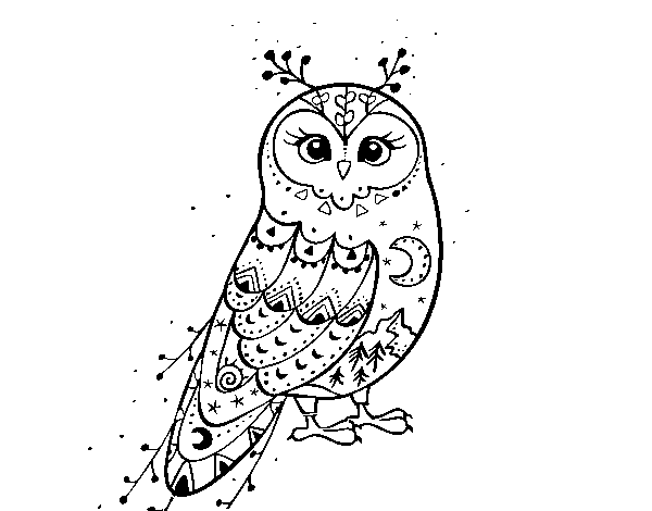 Winter Barn owl coloring page
