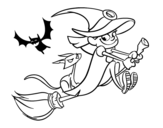 Witch and black cat flying coloring page