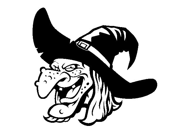 Witch head coloring page