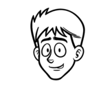Young boy face coloring page