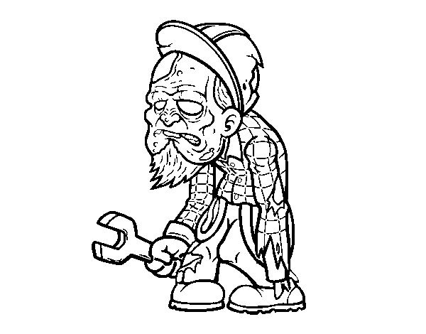 Zombie worker coloring page