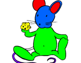 Coloring page Rat with cheese painted bymelo