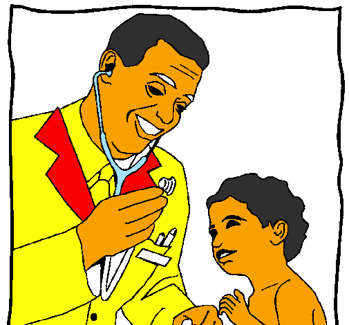 Coloring page Doctor with stethoscope painted bytalha