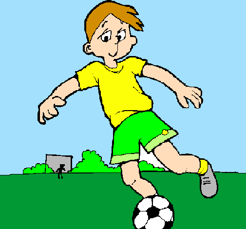 Coloring page Playing football painted bydoki