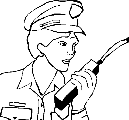 Police officer with walkie-talkie