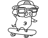 Coloring page Graffiti the pig on a skateboard painted bygrady
