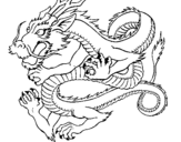 Coloring page Japanese dragon painted byKK