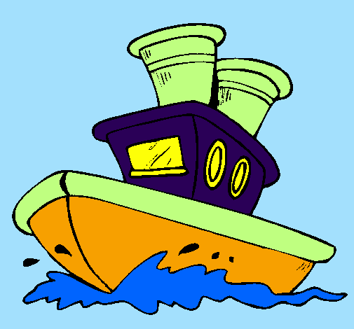 Coloring page Boat at sea painted byanonymous