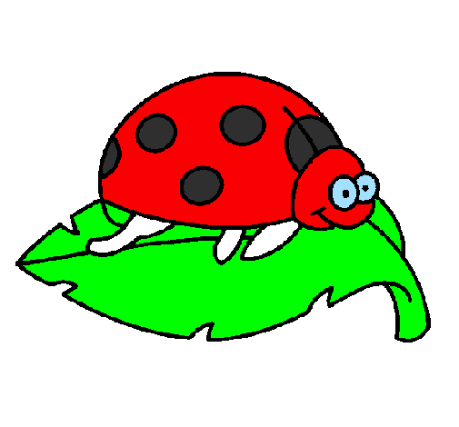 Coloring page Ladybird on a leaf painted bylogan