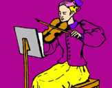 Coloring page Female violinist painted byChi Chi