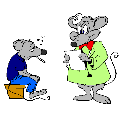 Coloring page Doctor and mouse patient painted byADRIANA      LIZETH