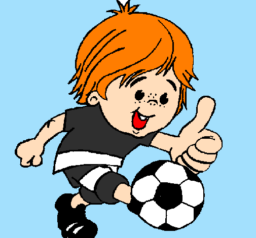 Coloring page Boy playing football painted bydavi,