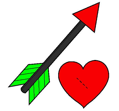 Coloring page Heart and arrow painted bycamila
