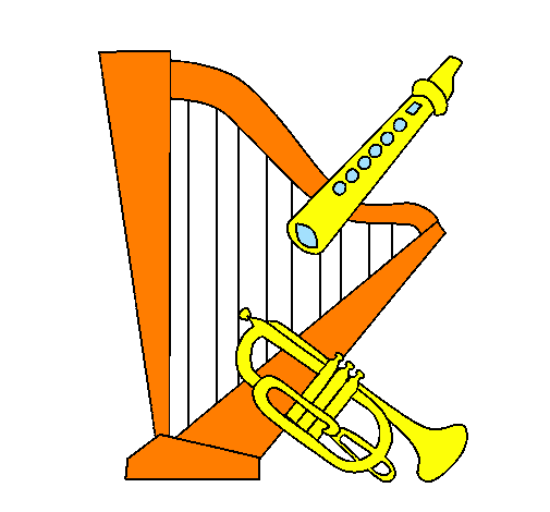 Coloring page Harp, flute and trumpet painted byivo