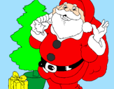 Coloring page Santa Claus and a Christmas tree painted bybeth