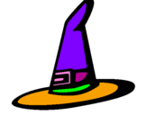 Coloring page Witch's hat painted byzoita