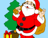 Coloring page Santa Claus and a Christmas tree painted bymn