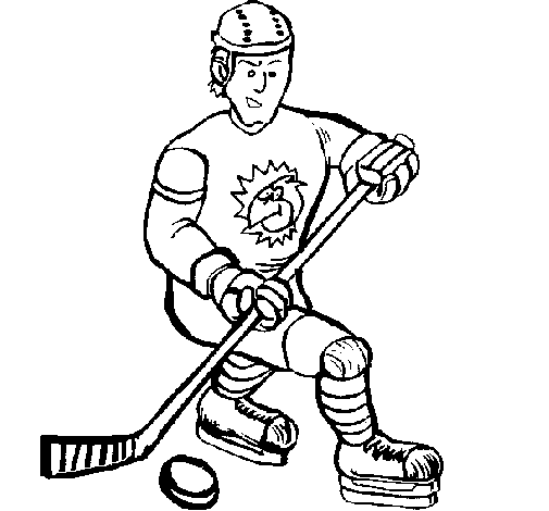 Coloring page Ice hockey player painted byadam