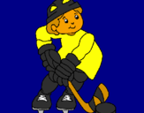 Coloring page Little boy playing hockey painted bygrady