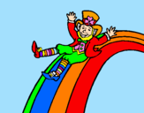 Coloring page Leprechaun on a rainbow painted byomar