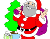 Coloring page Santa Claus and a Christmas tree painted bydario di stefano