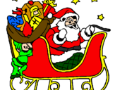 Coloring page Father Christmas in his sleigh painted bypeter