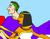 Coloring page Caesar and Cleopatra painted bylogan