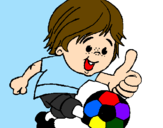 Coloring page Boy playing football painted byMessi
