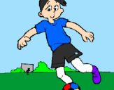 Coloring page Playing football painted byMESSI