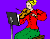 Coloring page Female violinist painted byrex