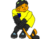 Coloring page Little boy playing hockey painted bypu