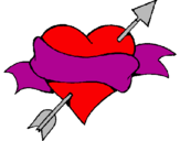Coloring page Heart, arrow and ribbon painted bybail