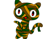 Coloring page Doodle the cat mummy painted byarmycat