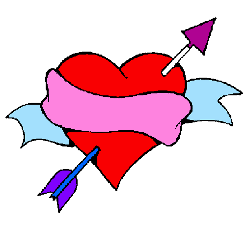 Coloring page Heart, arrow and ribbon painted bydiego and vianey