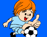 Coloring page Boy playing football painted bysimão