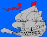Coloring page 17th century sailing boat painted by pirate ship