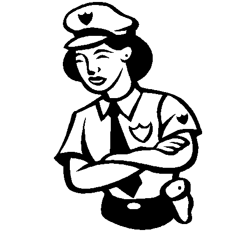 Coloring page Police woman painted bypolice off