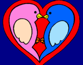Coloring page Birds in love painted byalyssa17