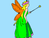 Coloring page Fairy with long hair painted byGrandma & Grandpa Nord
