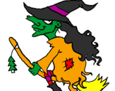 Coloring page Witch on flying broomstick painted bytatum
