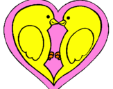 Coloring page Birds in love painted bynayelis