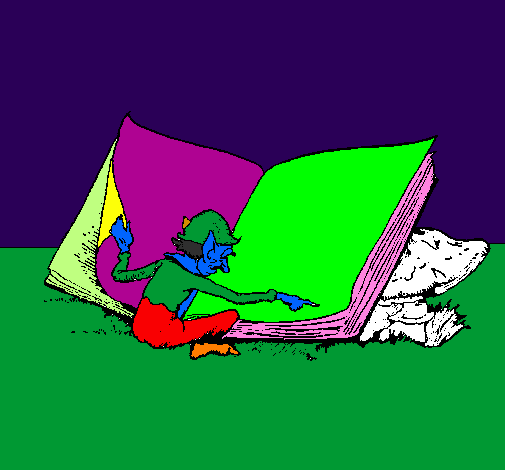 Coloring page Gnome reading painted byOcean