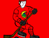 Coloring page Ice hockey player painted byindian