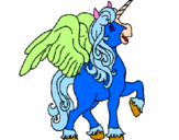 Coloring page Unicorn with wings painted byosleidy